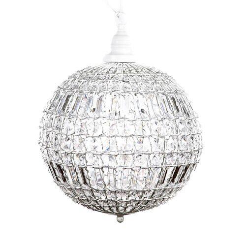 Grafelstein Kronleuchter »Kugellampe CRISTAL weiß mit Kristallen Kugelleuchte Hängelampe Kugel«