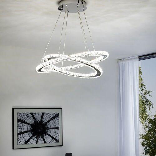 click-licht LED Pendelleuchte »LED Pendelleuchte mit Kristallglas, mit zwei Ringe«, Hängeleuchte, Pendellampe, Pendelleuchte