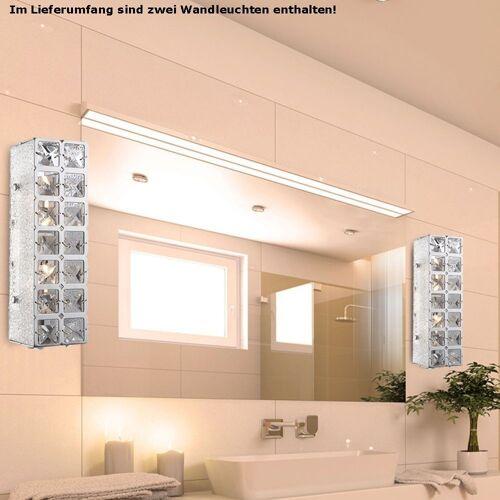 etc-shop Wandleuchte, 2er Set LED 10 Watt Wand Leuchte Beleuchtung Licht Lampe K9 Kristalle klar