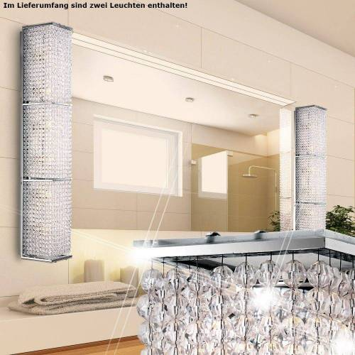 etc-shop Wandleuchte, 2er Set Wand Lampe Acryl Kristalle klar Chrom Leuchte Beleuchtung Licht