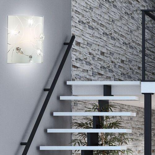 etc-shop Wandleuchte, 4 Watt LED Wand Leuchte Kristall Beleuchtung Glas Muster Lampe klar