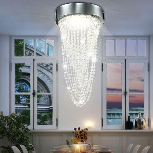 Esto Deckenleuchte, Chrom LED 12 Watt Deckenleuchte Kristallbehang Acryl Deckenlampe Wohnzimmer 740036 Kira