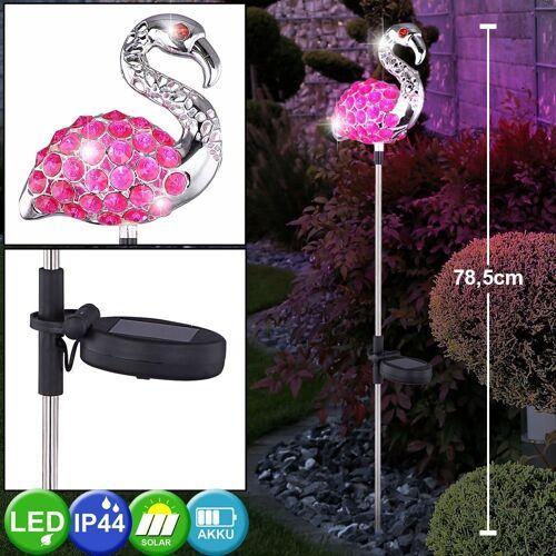 etc-shop Dekolicht, LED Solar Garten Steck Leuchte Flamingo Pink KristallLampe Hof Beleuchtung Tier Figur 33214-12