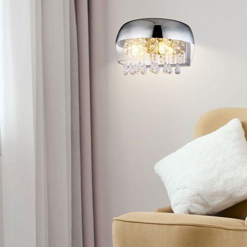 etc-shop Wandleuchte, Kristall Wandlampe Wandleuchte Kristall Modern Kristalllampe Esszimmer, Halbrund aus klarem Glas mit chrom Akzent, 2x G9, BxH 28 x 17,5 cm