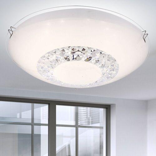 etc-shop Deckenleuchte, LED Deckenleuchte Kristall Wohnzimmer Deckenleuchte Glas Kristall Deckenlampe, opal rund, 1x LED 8 Watt 640 Lumen neutralweiß, DxH 25 x 8 cm