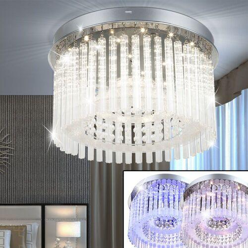 Globo Deckenleuchte, LED 18 Watt Decken Lampe Leuchte Esszimmer Chrom Glasstäbe Kristall 68568-18