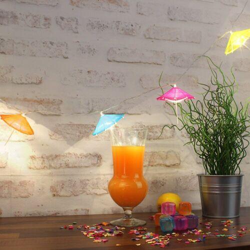 MARELIDA LED-Lichterkette »LED Lichterkette bunte Sonnenschirmchen warmweißen LED Batterie Cocktailschirm«, 10-flammig