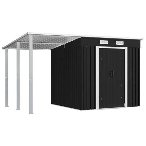 vidaXL Gerätehaus »Gerätehaus mit Vordach Anthrazit 346×193×181 cm Stahl«