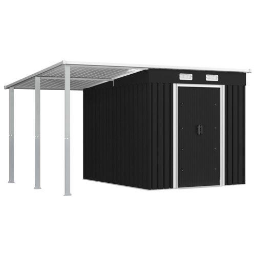 vidaXL Gerätehaus »Gerätehaus mit Vordach Anthrazit 346×236×181 cm Stahl«