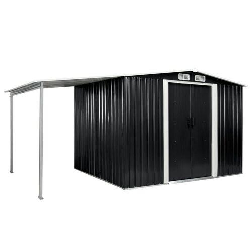 vidaXL Gerätehaus »Gerätehaus mit Schiebetüren Anthrazit 386×205×178 cm Stahl«