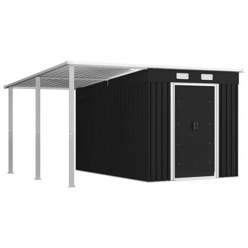 vidaXL Gerätehaus »Gerätehaus mit Vordach Anthrazit 336×270×181 cm Stahl«