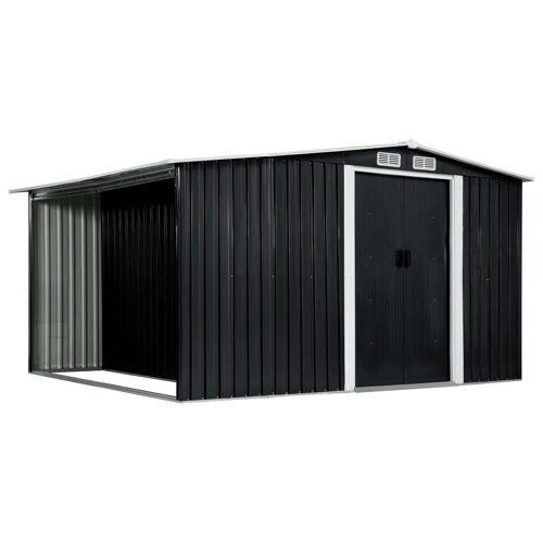 vidaXL Gerätehaus »Gerätehaus mit Schiebetüren Anthrazit 329,5×259×178 cm Stahl«