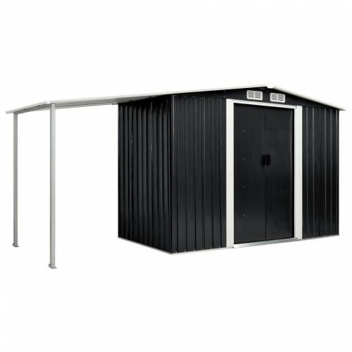 vidaXL Gerätehaus »Gerätehaus mit Schiebetüren Anthrazit 386×131×178 cm Stahl«