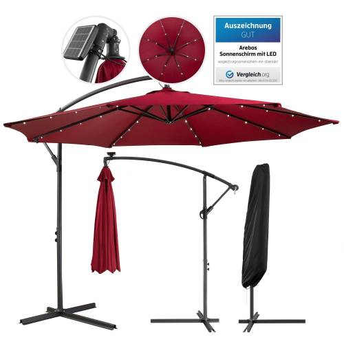 Arebos Sonnenschirm »Luxus Ampelschirm Gartenschirm mit LED Beleuchtung Ø3m Wasserabweisend«, Set, ohne Wegeplatten, rot