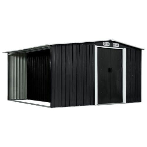 vidaXL Gerätehaus »Gerätehaus mit Schiebetüren Anthrazit 329,5×312×178 cm Stahl«