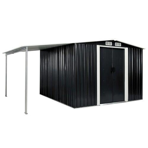 vidaXL Gerätehaus »Gerätehaus mit Schiebetüren Anthrazit 386×259×178 cm Stahl«