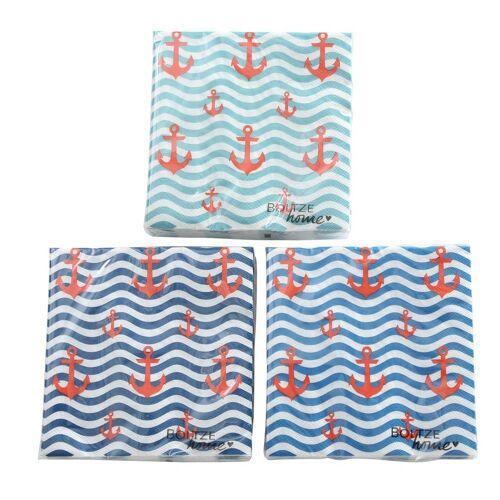 BOLTZE Vorratsglas »60tlg. Serviette WAVE blau weiß rot Papierservietten mit Anker maritim (3 Farben)«