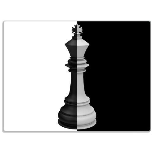 Wallario Schneidbrett »Schachfigur schwarz-weiß«, ESG-Glas, 30 x 40 cm