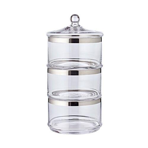 EDZARD Vorratsglas »Vigo«, Kristallglas, Bonboniere mit Platinrand, Bonbonglas mit Deckel, Glasdose zur Aufbewahrung, Home Deko als Geschenk, Ø 19,5 cm