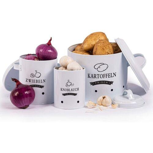 Zedelmaier Vorratsdose »Aufbewahrung Kartoffeln Set,Vorratsdose Kartoffeln, Zwiebeltopf Kartoffeltopf Knoblauchtopf, Großer Vorratsbehälter aus Metall«, Weiß