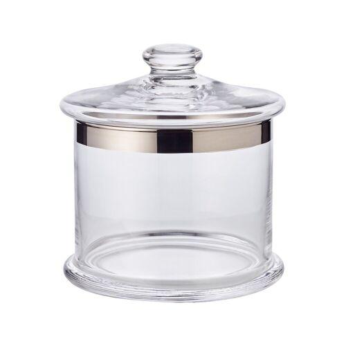 EDZARD Vorratsglas »Erik«, Kristallglas, Bonboniere mit Platinrand, Bonbonglas mit Deckel, Glasdose zur Aufbewahrung, Home Deko als Geschenk, Ø 15