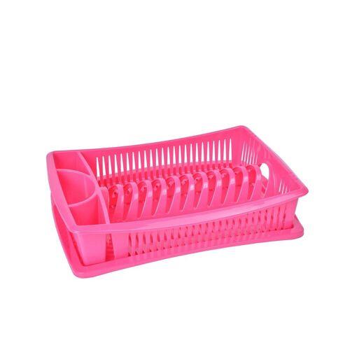 Wellgro Geschirrständer »Abtropfgestell - Abtropfgitter - Geschirr Abtropfkorb - Abtropfständer - Abtropfschale - Geschirrabtropfständer - Geschirrabtropfkorb«, Pink