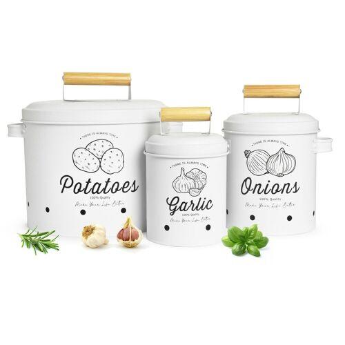 Sendez Vorratsdose »3 Vorratsbehälter Kartoffeltopf Knoblauchtopf Zwiebeltopf Vorratsdosen weiß matt«