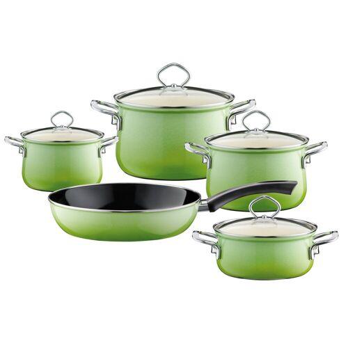 Riess Topf-Set »Kochgeschirr-Set 5-tlg. Smaragd«, Premium-Email, (5-tlg), Topfset