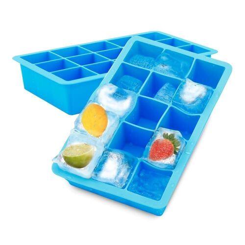 Intirilife Eiswürfelform »1x Eiswürfelform/Silikonform – Eiswürfel Silikonform mit 15 Fächern à 3 x 3 x 3 cm für große Eiswürfel«, (1-tlg), 1x Eiswürfelform mit 15 Fächern à 3 x 3 x 3 cm, Blau