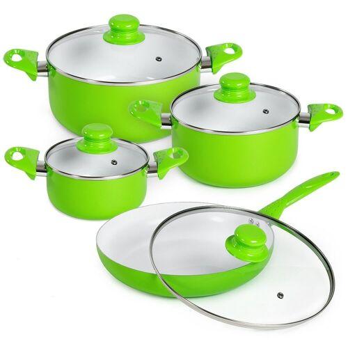tectake Topf-Set »Topfset aus Aluminium mit Keramikbeschichtung mit«, Aluminium, grün