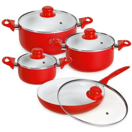 tectake Topf-Set »Topfset aus Aluminium mit Keramikbeschichtung mit«, Aluminium, rot