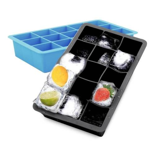 Intirilife Eiswürfelform »1x Eiswürfelform/Silikonform – Eiswürfel Silikonform mit 15 Fächern à 3 x 3 x 3 cm für große Eiswürfel«, (1-tlg), 1x Eiswürfelform mit 15 Fächern à 3 x 3 x 3 cm, Schwarz