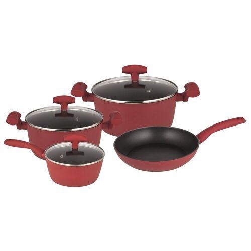 Michelino Topf-Set »Kochtopfset 7-teilig Nora«, Aluminium, (7-tlg), Topf-Set, Rot