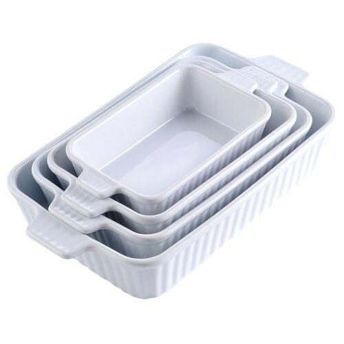MALACASA Backform »Bake.Bake«, (4-tlg), mikrowellengeeignet, Weiß 2200 ml - Eckig