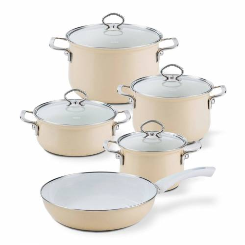Riess Topf-Set »Topf-Set Email 5-teilig CAPPUCCINO«, Emaille, (5-tlg), Topfset
