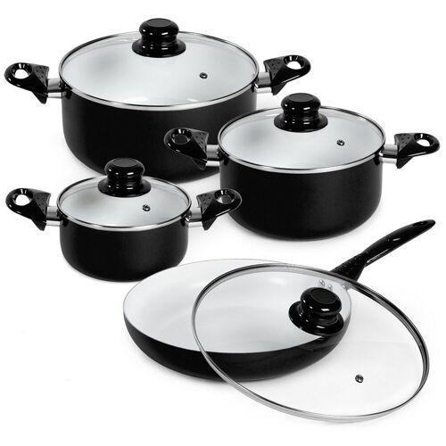 tectake Topf-Set »Topfset aus Aluminium mit Keramikbeschichtung mit«, Aluminium, schwarz