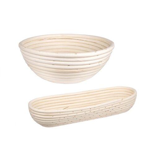 BigDean Gärkorb »Gärkörbchen für Brot−Teig − Korb für Hobby−Bäcker − oval 1 kg und rund 1 kg«, (2-tlg) 1 ml;1.5 ml