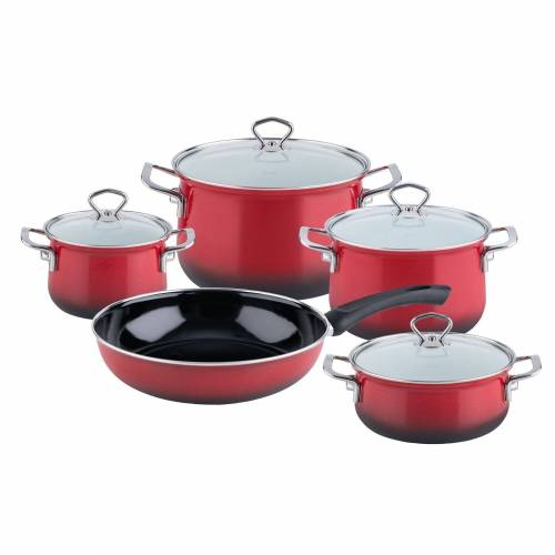 Riess Topf-Set »Topfset Email 5-teilig BROMBEER«, Emaille, (5-tlg), Topfset