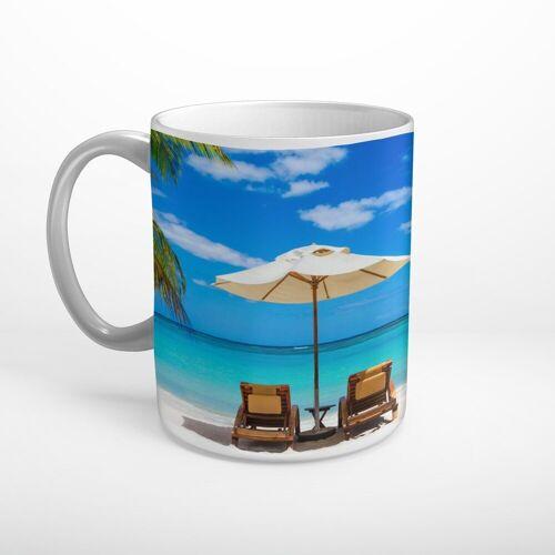 DesFoli Tasse »Meer Strand Sonnenliege Sonnenschirm T1822«, Keramik