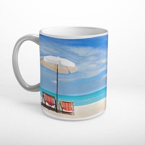 DesFoli Tasse »Meer Strand Sonnenliegen Sonnenschirm T1795«, Keramik