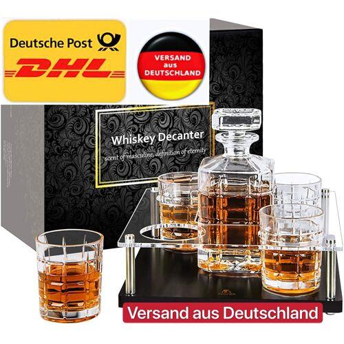 vokarala Whiskyglas, Whisky Karaffe und Gläsern Set, 800 ml Dekanter mit 4 Bleifrei Kristall Gläser. 5-teiliges, Geschenk für Whiskey Liebhaber