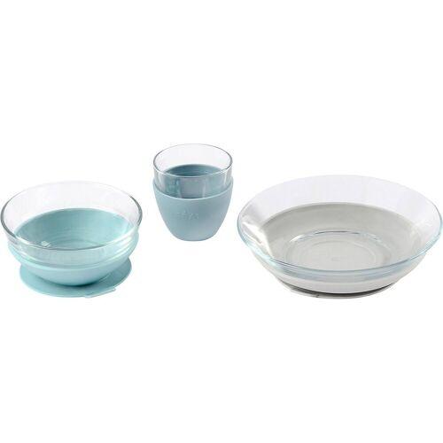 BÉABA Kindergeschirr-Set »Geschirr Geschenkset, Glas, Jungle«, blau