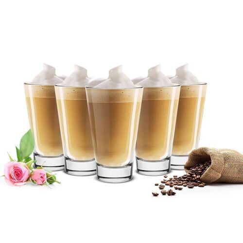 Sendez Latte-Macchiato-Glas »6 Latte Macchiato Gläser 310ml Kaffeegläser Teegläser«, Klar