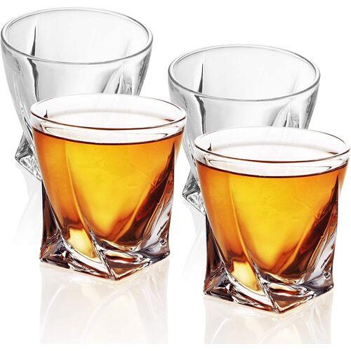 Intirilife Whiskyglas »Whisky Glas TWISTED Old Fashioned Whiskey Kristallglas«, Glas, 4x Whisky Glas 'TWISTED' Kristallglas Bleifrei