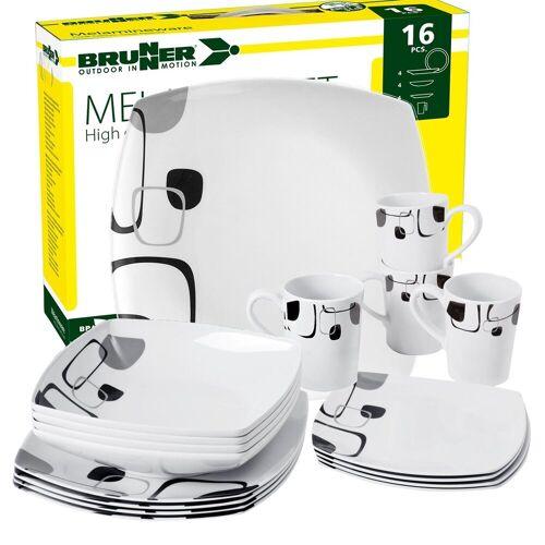 BRUNNER Geschirr-Set »Melamin Geschirr ENIGMA (16 oder 36-Teilig), sehr Leicht, Quadratisch« (16-tlg)
