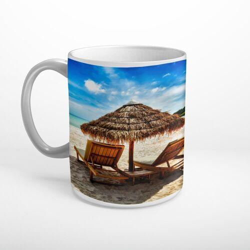 DesFoli Tasse »Meer Strand Sonnenliege Sonnenschirm T1855«, Keramik