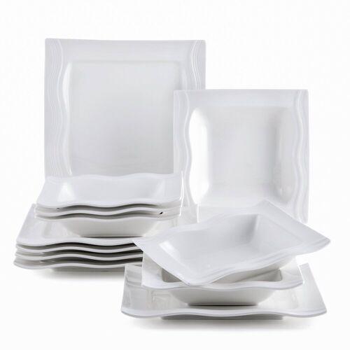 MALACASA Kombiservice »MARIO« (12-tlg), Porzellan, 12-teilig Geschirr Set aus Porzellan