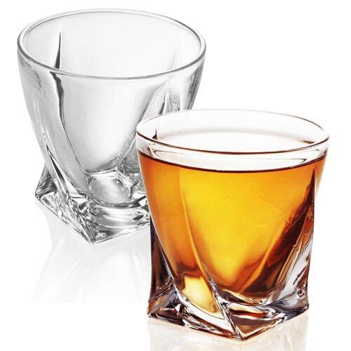 Intirilife Whiskyglas »Whisky Glas TWISTED Old Fashioned Whiskey Kristallglas«, Glas, 2x Whisky Glas 'TWISTED' Kristallglas Bleifrei