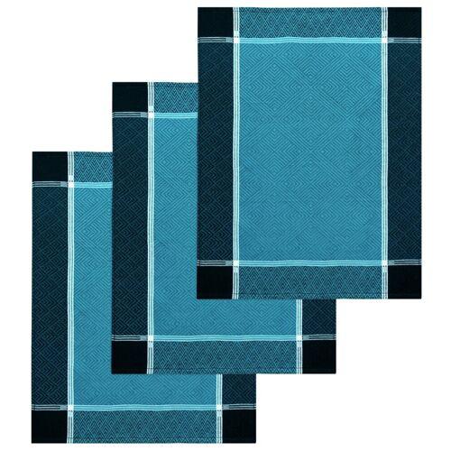 Lashuma Handtuch Set (Set, 3-tlg), Geschirrtücher Halbleinen, Küchentücher 50x70 cm, Meer Blau