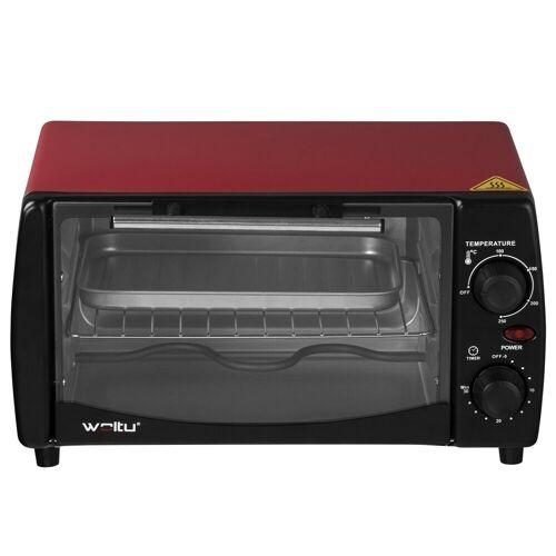 Woltu Küchenwagen, Mini Backofen mit Backblech, 800 Watt, 12 Liter, rot